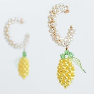 NWT Zara lemon beaded earrings
